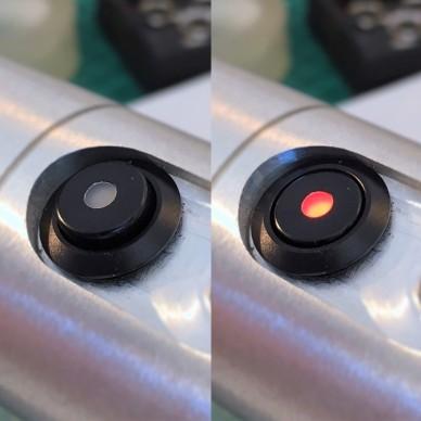 Interruttore on-off nero antivandalo con SPIA led. 12mm.