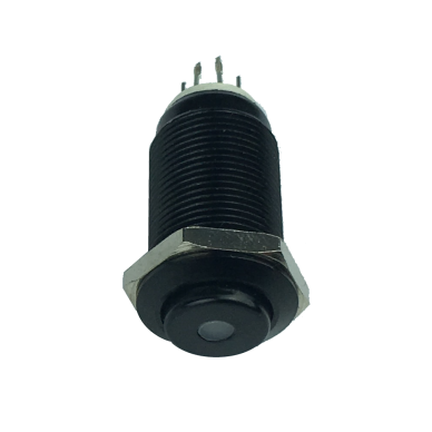 On-off switch black vandal-resistant with led LIGHT. 12mm.